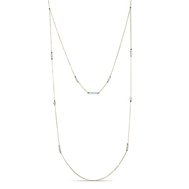 Allegro STP000342, 7 CT TGW Blue Topaz & White Onyx Layered Station Necklace in Yellow Plated Sterling Silver, 40