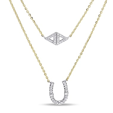 Allegro STP000343, 2/5 CT TGW Cubic Zirconia Layered Horseshoe Necklace in Yellow Plated Sterling Silver, 17
