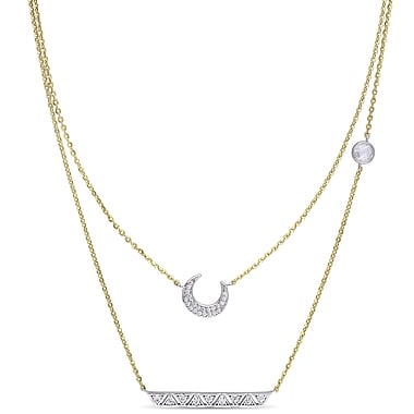 Allegro STP000344, 1 1/6 CT TGW Cubic Zirconia Layered Moon & Star Necklace in Yellow Plated Sterling Silver, 17
