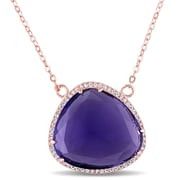 Allegro STP000354, 3 CT TGW Synthetic Amethyst & White Topaz Necklace in Rose Plated Sterling Silver, 18""