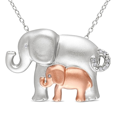 Allegro STP000362, Diamond Elephant Pendant with Chain in 2-Tone Pink & White Sterling Silver, 18