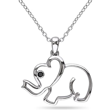 Allegro STP000363, Black Diamond Elephant Pendant with Chain Silver, 18