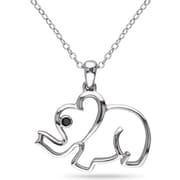 "Allegro STP000363, Black Diamond Elephant Pendant with Chain Silver, 18"""