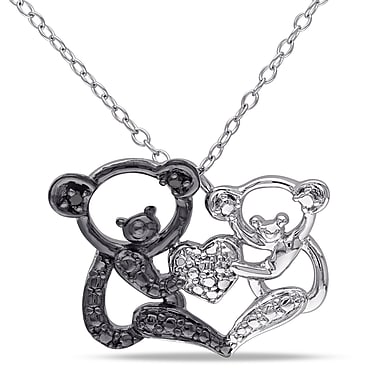 Allegro STP000366, Black Diamond Double Koala Love Pendant with Chain in Sterling Silver with Black Rhodium, 18