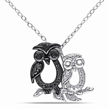Allegro STP000367, Black Diamond Double Owl Pendant with Chain in Sterling Silver with Black Rhodium, 18