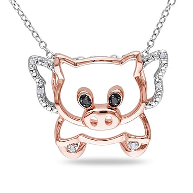 Allegro STP000370, Black & White Diamond When Pigs Can Fly Pendant w/Chain in 2-Tone Rose & White Sterling Silver, 18