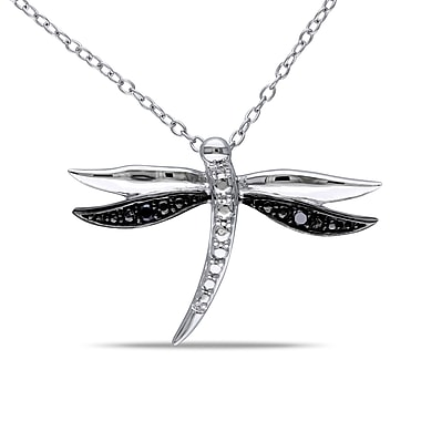 Allegro STP000372, Black Diamond Dragonfly Pendant with Chain in Sterling Silver with Black Rhodium, 18