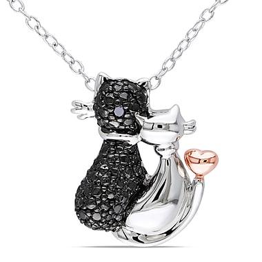 Allegro - Pendentif Amour chat diamant noir, chaîne en argent sterling plaqué or blanc et rose, rhodium noir, 18 po (STP000373)