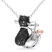 """Allegro STP000373, Black Diamond Cat Love Pendant w/Chain in 2-Tone White & Rose Sterling Silver w/Black Rhodium, 18"""""""