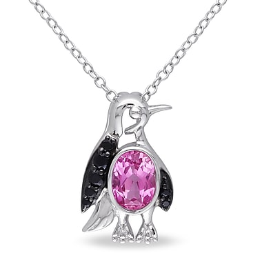 Allegro STP000378, Created Pink sappahire & Black Spinel Penguin Pendant w/Chain in Sterling Silver w/Black Rhodium, 18