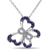 Allegro STP000384, Diamond & Created Blue Sapphire Butterfly Infinity Pendant w/Chain in Sterling Silver & Black Rhodium, 18""