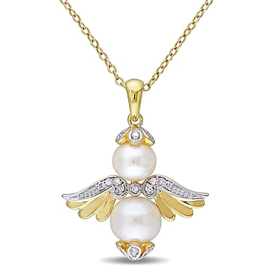 Allegro STP000386, Freshwater Cultured Freshwater Pearl & Diamond Angel Pendant w/Chain in Yellow Plated Sterling Silver, 18