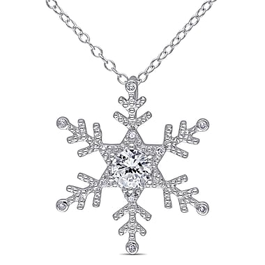 Allegro STP000388, Diamond & Created White Sapphire Snowflake Pendant with Chain in Sterling Silver, 18