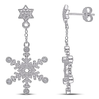 Allegro STP000389, 0.05 CT TW Diamond Snowflake Earrings in Sterling Silver