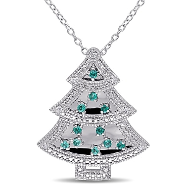Allegro STP000393, Created Emerald & Created White Sapphire & Diamond Christmas Tree Pendant w/Chain in Sterling Silver, 18