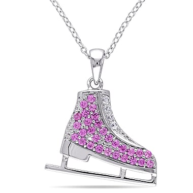 Allegro STP000394, Created White & Created Pink Sapphire Ice Skate Pendant with Chain in Sterling Silver, 18