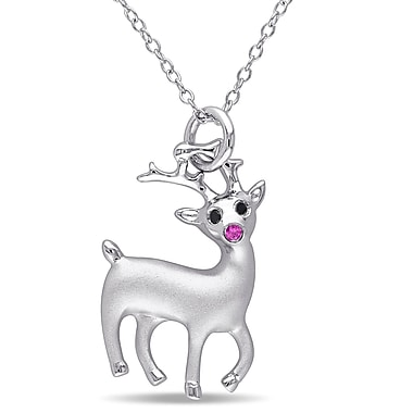 Allegro STP000396, Black Diamond & Created Ruby Rudolph the Reindeer Pendant with Chain in Sterling Silver, 18