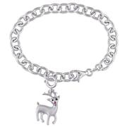 "Allegro STP000397, Created Ruby & Black Diamond ""Rudolf the Red-Nosed Reindeer"" Charm Bracelet in Sterling Silver, 7.5"""