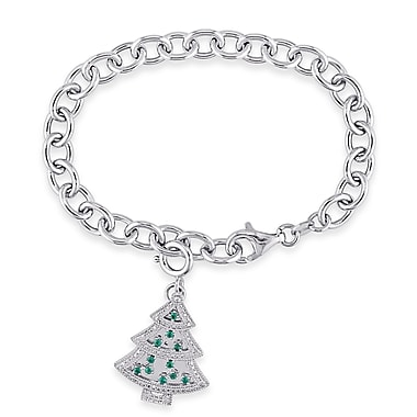 Allegro STP000398, Diamond, Created Emerald & Created White Sapphire Christmas Tree Charm Bracelet in Sterling Silver, 7.5
