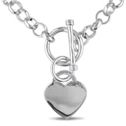 Allegro STP000403, Heart Charm Necklace in Sterling Silver, 18""