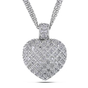 Allegro STP000405, 1 CT TW Diamond Heart Pendant with Triple Chain in Sterling Silver, 18""