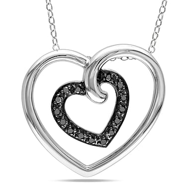 Allegro STP000419, 1/6 CT TW Black Diamond Double Heart Pendant with Chain in Sterling Silver with Black Rhodium, 18