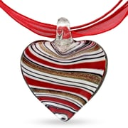 Allegro STP000422, 35 MM Red, Gold, Black & White Striped Glass Heart Pendant on Red Ribbon w/White Tone Extender & Clasp, 18""