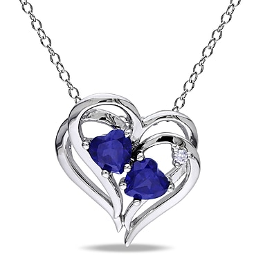 Allegro - Pendentif avec diamant et saphir bleu synthétique en cœur et chaîne en argent sterling, 18 po (STP000427)