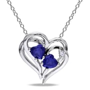 Allegro STP000427, Diamond & Created Blue Sapphire Heart Pendant with Chain in Sterling Silver, 18""