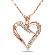 """Allegro STP000429, Diamond Heart Pendant with Chain in Pink Plated Sterling Silver, 18"""""""