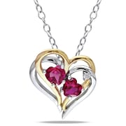"""Allegro STP000431, Diamond & Created Ruby Heart Pendant with Chain in 2-Tone Yellow & White Sterling Silver, 18"""""""