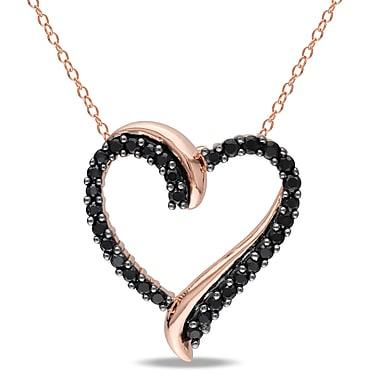 Allegro - Pendentif avec spinelle noir en forme de cœur croisé avec chaîne en argent sterling plaqué rose, STP000436, 18 po