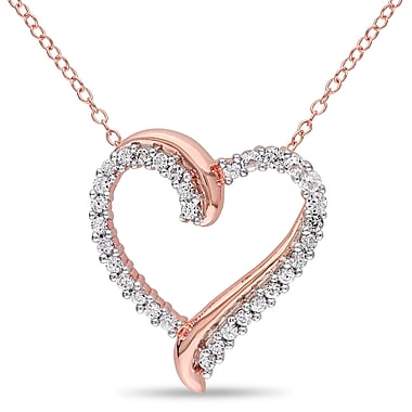 Allegro STP000437, Created White Sapphire Crossover Heart Pendant with Chain in Rose Plated Sterling Silver, 18