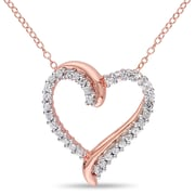 """Allegro STP000437, Created White Sapphire Crossover Heart Pendant with Chain in Rose Plated Sterling Silver, 18"""""""