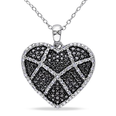 Allegro STP000442, 1/5 CT TW Diamond Heart Pendant with Chain in Sterling Silver with Black Rhodium, 18