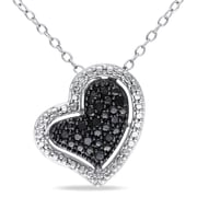 """Allegro STP000447, 1/10 CT TW Black Diamond Pave Heart Halo Pendant with Chain in Sterling Silver with Black Rhodium, 18"""""""