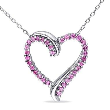 Allegro - Pendentif avec saphir rose synthétique en forme de cœur croisé et chaîne en argent sterling, 18 po (STP000452)