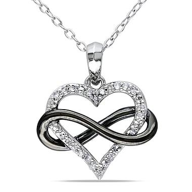 Allegro - Pendentif avec cœur infini en diamant 1/10 ct PT avec chaîne en argent sterling et rhodium noir, 18 po (STP000456)