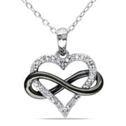 """Allegro STP000456, 1/10 CT TW Diamond Heart Infinity Pendant with Chain in Sterling Silver with Black Rhodium, 18"""""""