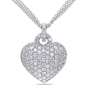 Allegro STP000461, 3 1/2 CT TGW Created White Sapphire Heart Pendant with Chain in Sterling Silver, 18""