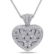 Allegro STP000463, Diamond Heart Locket Pendant with Chain in Sterling Silver, 18""