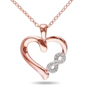 """Allegro STP000477, Diamond Infinity Heart Pendant with Chain in Pink Plated Sterling Silver, 18"""""""