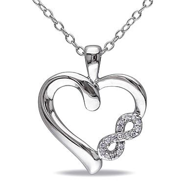 Allegro - Pendentif cœur et Infini diamant avec chaîne en argent sterling, STP000478, 18 po