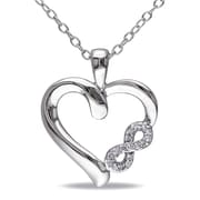 """Allegro STP000478, Diamond Infinity Heart Pendant with Chain in Sterling Silver, 18"""""""
