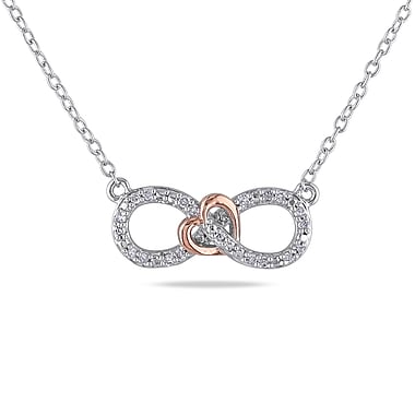 Allegro STP000485, 1/10 CT TW Diamond Infinity Heart Necklace in 2-Tone Pink & White Sterling Silver, 18