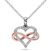 Allegro STP000487, 1/10 CT TW Diamond Infinity Heart Pendant with Chain in 2-Tone Pink & White Sterling Silver, 18""