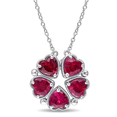 Allegro STP000505, 5 CT TGW Created Ruby Heart Vintage Necklace in Sterling Silver, 18