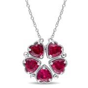 Allegro STP000505, 5 CT TGW Created Ruby Heart Vintage Necklace in Sterling Silver, 18""