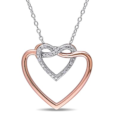 Allegro STP000510, Diamond Linked Hearts Pendant With Chain in 2-Tone Rose & White Sterling Silver, 18