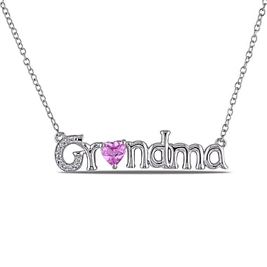 Allegro STP000520, Diamond & Created Pink Sapphire 'Grandma' Heart Necklace in Sterling Silver, 18